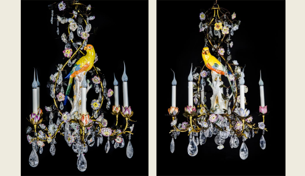 Dd antiques gallery home a pair of highly important rare antique german meissen porcelain louis xvi style gilt bronze porcelain cut rock crystal parrot chandeliers ca 1850 aloadofball Image collections
