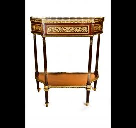 A Pair of French Antique Louis XVI ormolu bronze mounted mahogany consoles.