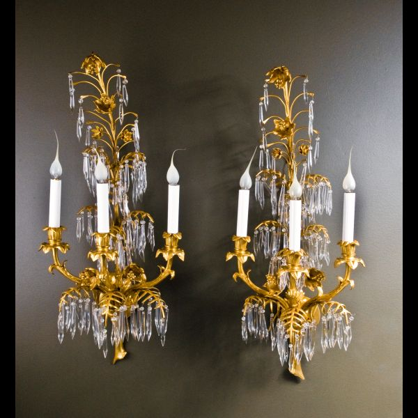 A pair of elegant Antique French Louis XVI ormolu bronze u0026 cut crystal wall sconces. : antique french wall sconces - www.canuckmediamonitor.org