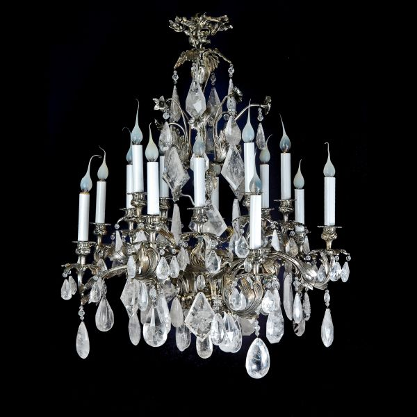 A Exquisite Antique French Louis XV silvered bronze & cut rock crystal  chandelier. - D&D Antiques Gallery :: A Exquisite Antique French Louis XV Silvered