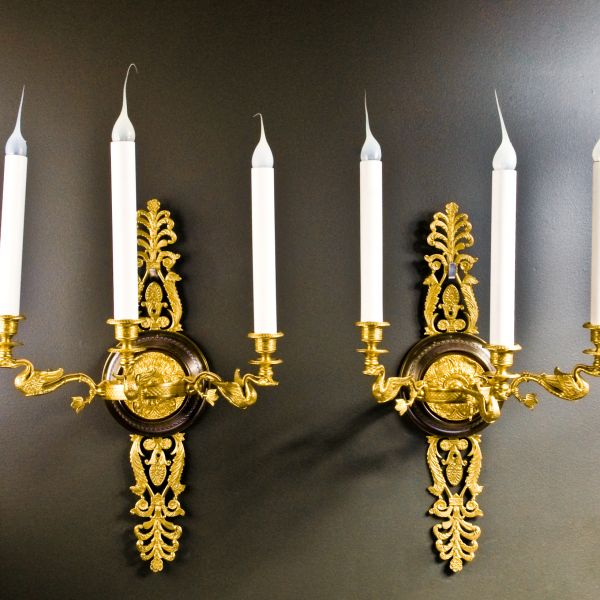 Pr.superb Antique French empire ormolu u0026 paina bronze wall sconces. & Du0026D Antiques Gallery :: Pr.superb Antique French empire ormolu ...
