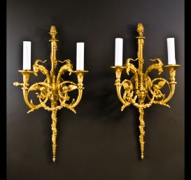 A pair of exquisite antique French Louis XVI sconces