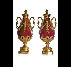 Pr. Antique French Louis XVI covered urns.