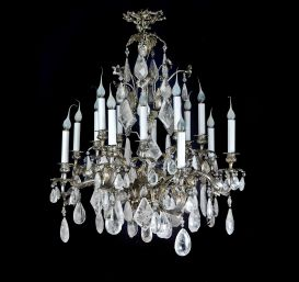 A Exquisite Antique French Louis XV silvered bronze & cut rock crystal chandelier.