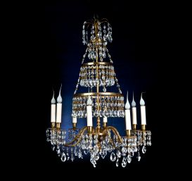 A Fine Antique Russian gilt bronze & cut crystal chandelier