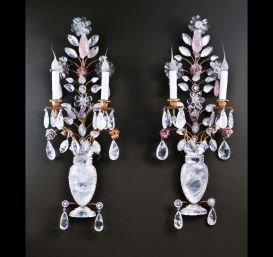 Pair of fine French Louis XVI Bagues style rock crystal wall sconces.