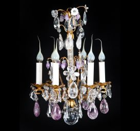French Louis XV small bronze & rock crystal chandelier